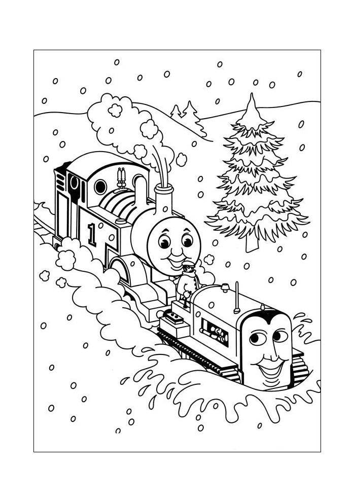 Thomas de trein - achter de sneeuwschuiver