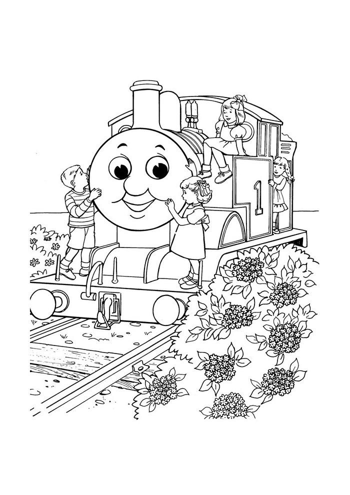 Thomas de stoomlocomotief - met kindjes