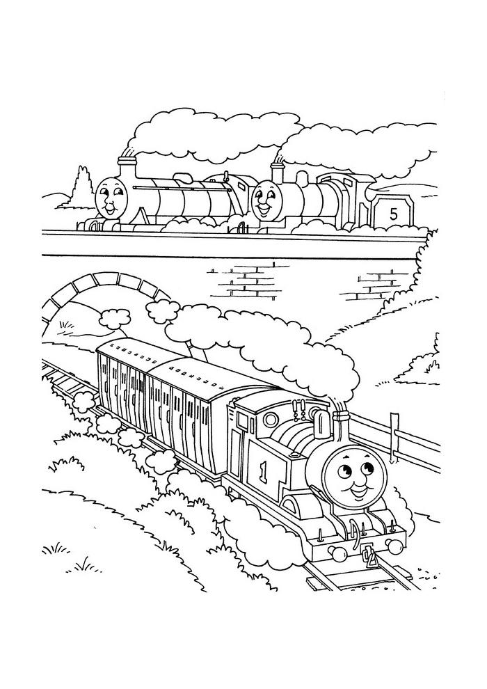 Thomas de trein - onder en over de brug
