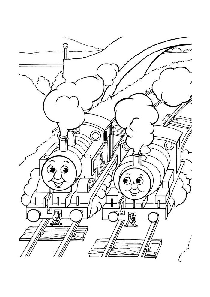 de stoomlocomotief twee treintjes de