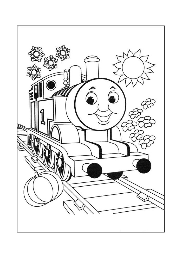 de trein in het zonnetje de