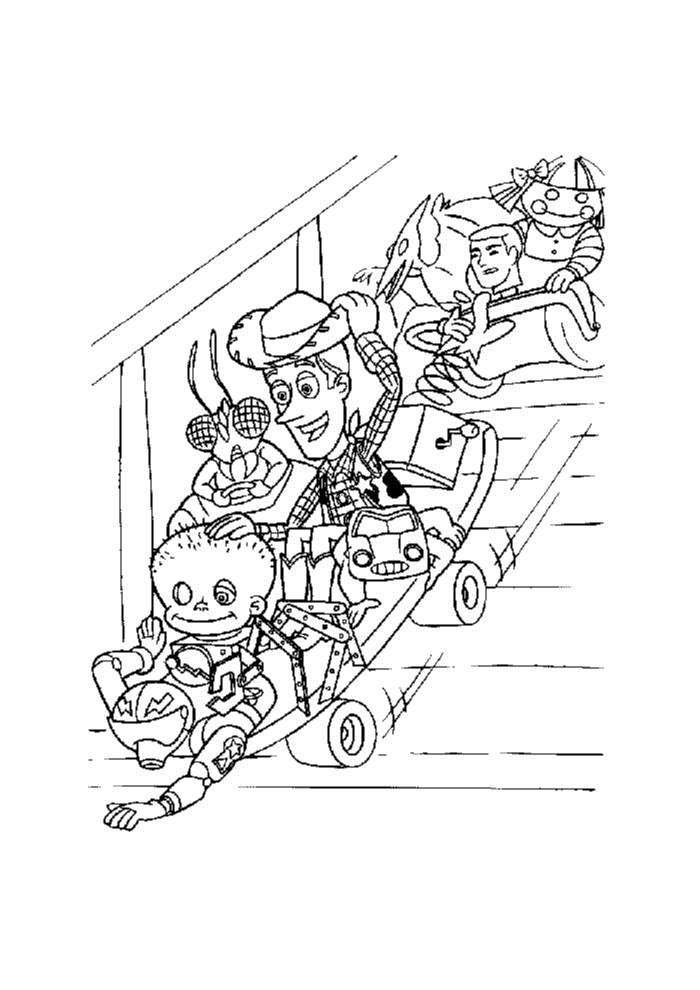 Toy story van de trap toy story kleurplaten - Beneden trap ...