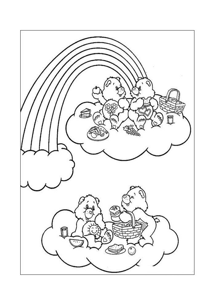 Kleurplaten Van De Regenboog.Troetelbeertjes Bij De Regenboog Eten Troetelbeertjes