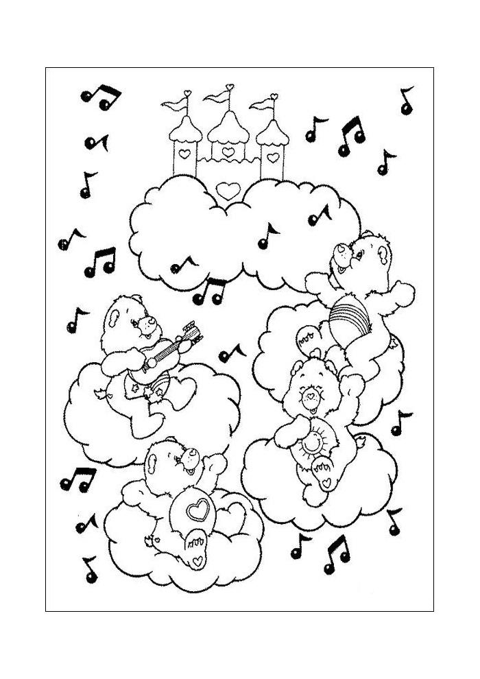Eenvoudige Kleurplaten Troetelbeertjes.Kleurplaat Muziek