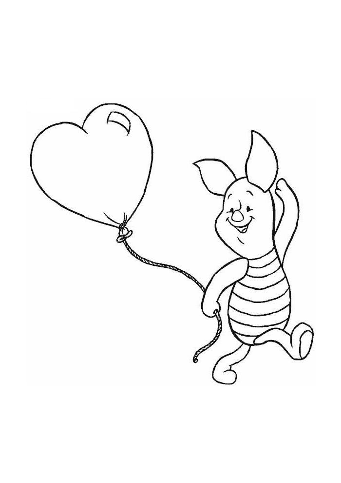 Winnie Poeh Knorretje Met Een Hartjes Ballon