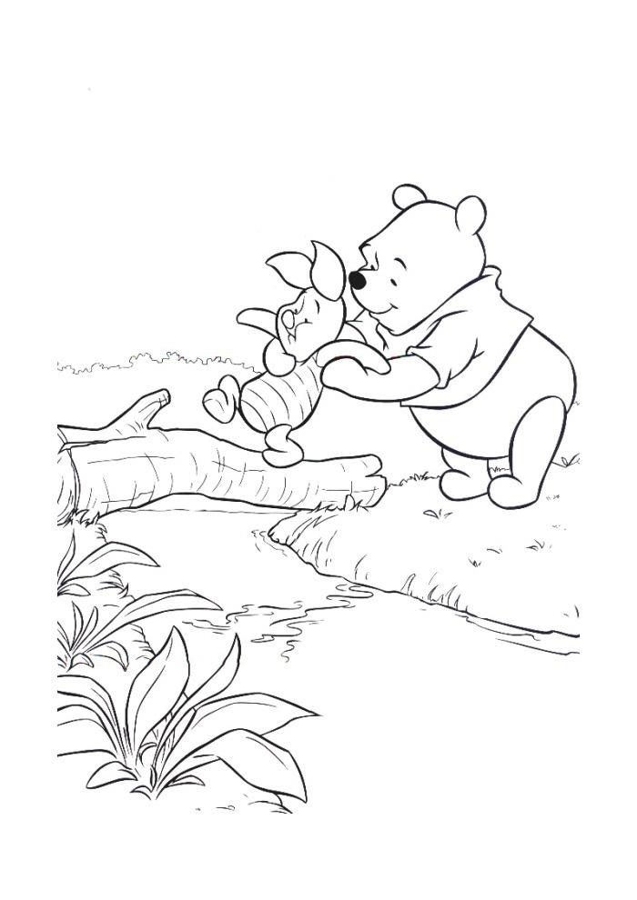 Winnie de Poeh - poeh en knorretje over het water