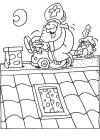 Sinterklaas met een loopauto op het dak