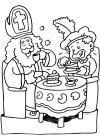 Sint en Piet drinken koffie