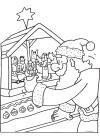 Kerstman bij de kerststal
