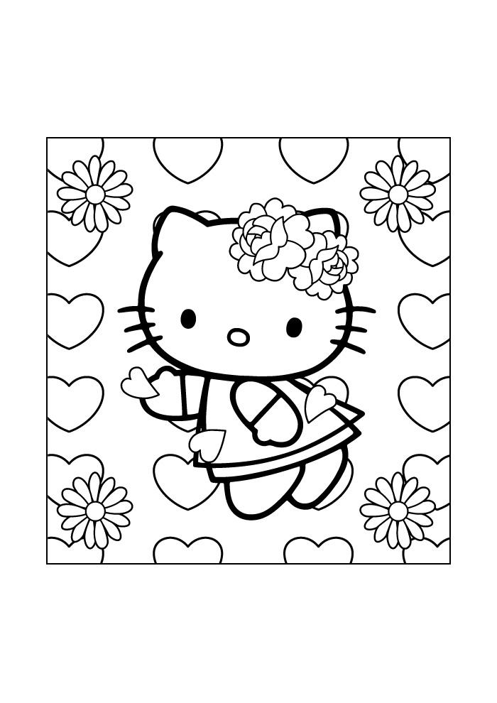 Super Hello Kitty tussen de hartjes - Hello Kitty Kleurplaten EK-49
